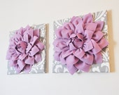 "TWO Wall Flowers -Lilac Purple Dahlia on Gray and White Damask 12 x12"" Canvas Wall Art- Baby Nursery Wall Decor-"