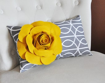 Pillow - Decorative Pillow - Throw Pillow - Lumbar Pillow - Mustard Rose on Charcoal Gray Porta Bella Pillow