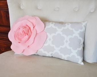 Lumbar Pillow Light Pink Rose on Neutral Taupe / Gray Tarika Lumbar Pillow 9 x 16 -Lattice Trellis-
