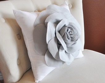 Grey Rose on White Pillow