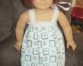 18 Inch Doll Clothes, blue squares nightgown with lace trim for 18 inch doll