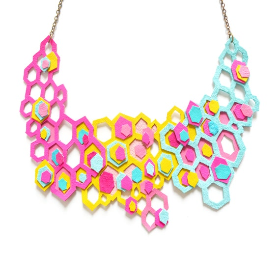 Neon Statement Necklace, Honey Comb Hexagons, Modern Molecules Geometric Jewelry