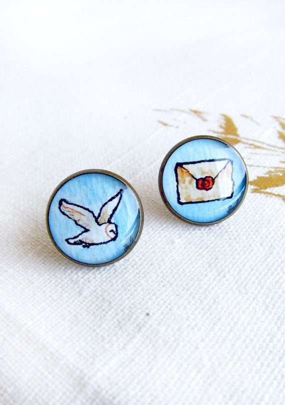 Owl Post earrings, Harry Potter jewelry, book, Hogwarts letter, stud earrings LIMITED EDITION