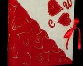 Red hearts batik paper handmade photo album red sateen ribbon wedding or boyfriends gift  Valentine Day scrapbook guest book customizable