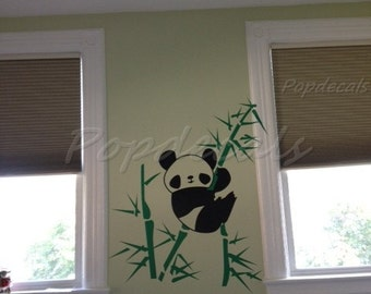Panda and Bamboo-Wall decals stickers removable wall art for kids' room