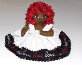 Small Business Saturday SALE Black Mini Doll with Red Silk Roses Hair Gift