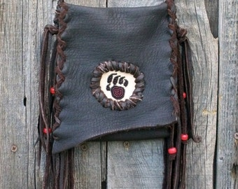 Bear totem crossbody medicine bag , Fringed leather phone bag , Fringed leather handbag with a bear claw totem