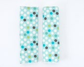 Reversible CAR SEAT STRAP covers- Moda Dots in Vanilla Chenille- last one