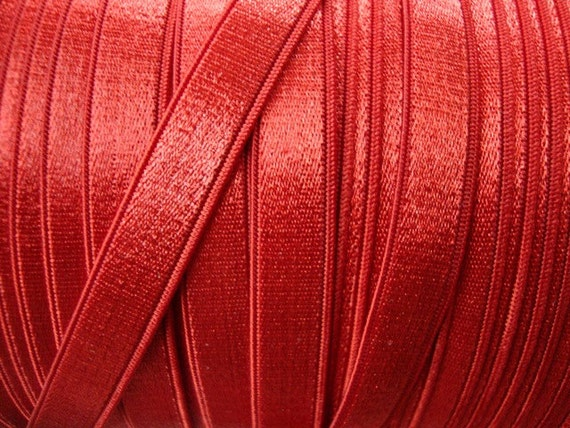 """10 yards 3/8"""" width ( 9 mm ) red satin elastic / red satin stretch ribbon has one side shine for undergarment and headband"""