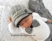 Newborn boy hat baby boy newsboy hat coming home outfit Bowtie  Photo prop hat gray tweed baby boy clothes crochet newsboy hat