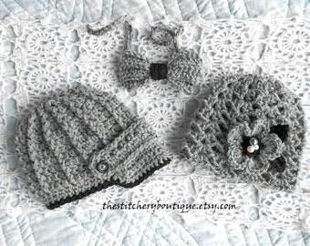 Boy Girl Twin  Newsboy Hat  Bowtie baby girl photo prop hat, coming home outfit baby boy newborn boy newsboy hat twins set gray tweed