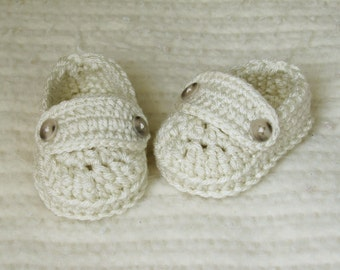 Crochet Baby Loafer Booties - 3 to 6 Months - Cream