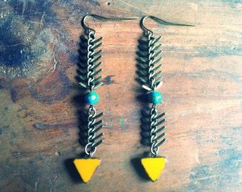 Arrow Earrings, Triangle Earrings Snake Chain Earrings, Chain Earrings, Festival Jewelry, Mothers Day Jewelry