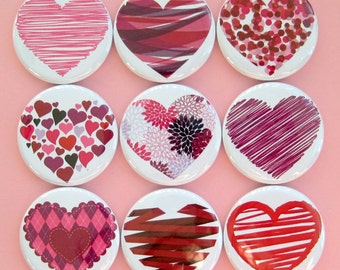 Heart Magnets - Set of Nine 1.25 Inch Button Magnets Packaged in a Custom Box