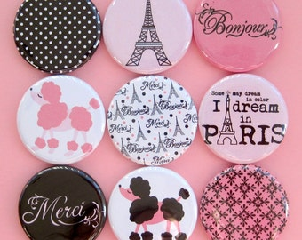 Paris Poodle Magnets - Pink and Black - Set of Nine 1.25 Inch Button Magnets Packaged in a Custom Box