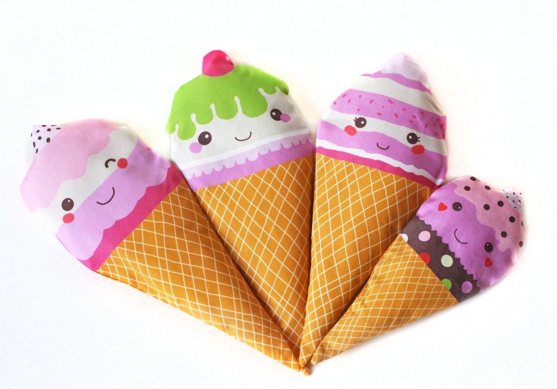 Plush Food Toys : Kawaii ice cream fabric plush softie plushies set of kids