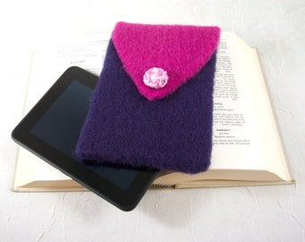 Kindle E-Reader Cover or Case or Cozy in Royal Purple and Hot Pink Hand Knitted Felt
