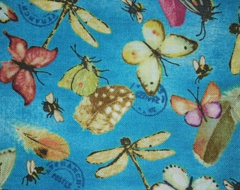 Sale-Postcard Garden Butterflies on Blue with Postmarks Quilt Fabric -- Full or Half Yard Red Rooster