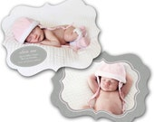 INSTANT DOWNLOAD - Birth announcement photo card template, Luxe card - 0186
