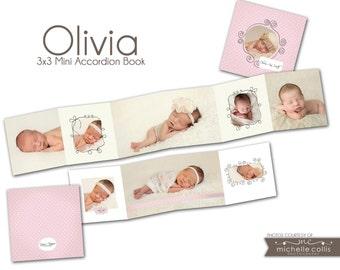 0723 3x3 Mini Wallet Accordion Photoshop PSD Album Template - Olivia   - Perfect for Baby, Birth Announcement, Wedding - Whcc or Mpix