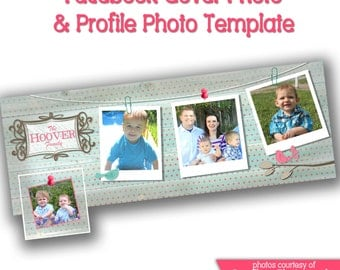 INSTANT DOWNLOAD - Facebook timeline cover photoshop template and coordinating profile thumbnail - 0601
