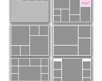 INSTANT DOWNLOAD - Photography 16x20 Storyboard Blog Board Template Collection, Square Corners - set of 6 - 0582