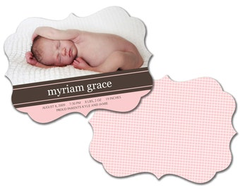 INSTANT DOWNLOAD -   Birth announcement photo card template, Luxe card - 0156
