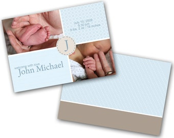 INSTANT DOWNLOAD - Birth announcement photo card template, 5X7 card - 0234