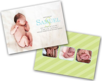 INSTANT DOWNLOAD - Birth announcement photo card template, 5X7 card - 0266