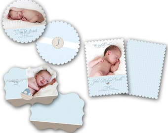 INSTANT DOWNLOAD - Birth announcement photo card templates, Luxe 3 pack - 0237-9