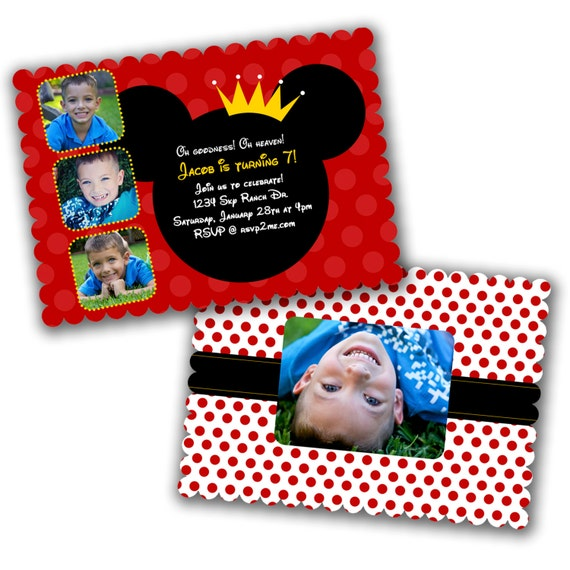 INSTANT DOWNLOAD -  Luxe Birthday Invitation Photoshop Psd Photo Card Template Photographers - Mickey Mouse - 0567