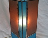 Contemporary Column Style Stained Glass Accent Lamp