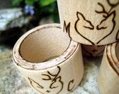 DEER wedding napkin rings Set of 4 pcs -Personalizable wood burning