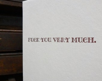 Letterpress Card - F-you very much