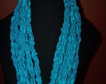 Continuous Aqua Crochet Chain Scarf