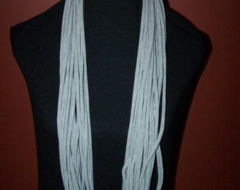 Upcycled Gray Dyed  T-Shirt Scarf