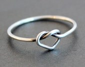 Smooth Heart Knot Ring - Argentium Sterling Silver - Shiny or Antiqued