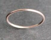 14K Solid Rose Gold Skinny Ring - 1mm Simple Band - Smooth, Matte or Hammered - 18 Gauge