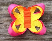 Butterfly Hair Clip, Hot Pink, Orange, and Yellow Butterfly Hair Clip, Butterfly Bow, Spring Hair Clip, Toddler Hair Clip, Free Shipping