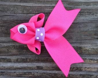 Hot Pink Fish Hair Clip, Tropical Fish Hair Clip, Fish Ribbon Sculpture Hair Clip, Pink and Purple Fish Hair Bow, FREE SHIPPING PROMO