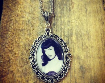 Bettie Page pin up 25 x 18mm antique silver necklace