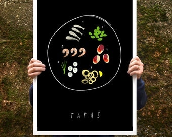 "Tapas Spanish food Kitchen Poster print  20""x27"" - archival fine art giclée print"