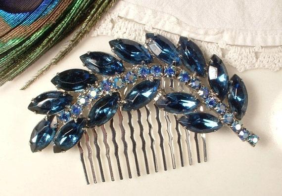 TRUE Vintage Sapphire Blue Rhinestone Encrusted Bridal Hair Comb, Heirloom Brooch OOAK Haircomb