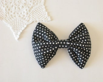 Black Dot Hair Bow, Black and White Dots, For Women Teens Girls