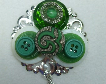 Vintage Beautiful Unique Hand Made MOP Vintage Button Brooch--One of a Kind-Irish Good Luck