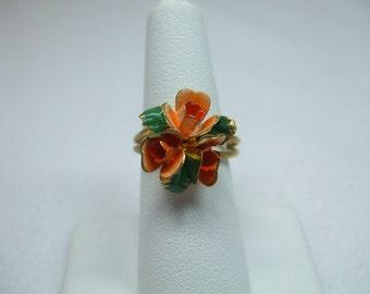 Vintage peach enamael flowers goldtone adjustable