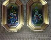 Vintage Handpainted Gorgeous Floral Arrangement Framed in Handcrafted Gold Wood Frame