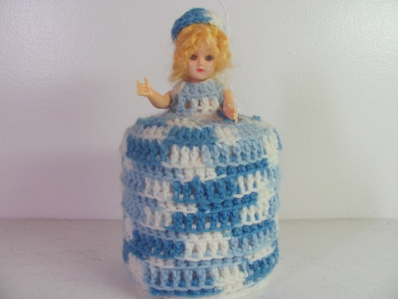 Vintage Crocheted Doll Toilet Paper Roll Cover