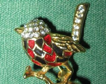 Vintage Enamel & Rhinestone Figural Bird Brooch / Pin