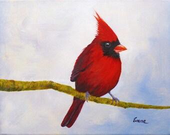 CASANOVA  Cardinal painting 8 X 10 Original bird painting
